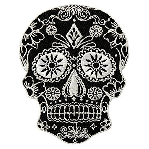 MQ Skull Totenkopf - schwarz/weiß - Aufnäher Aufbügler Applikation Patch - ca. 7,5 x 9,3 cm
