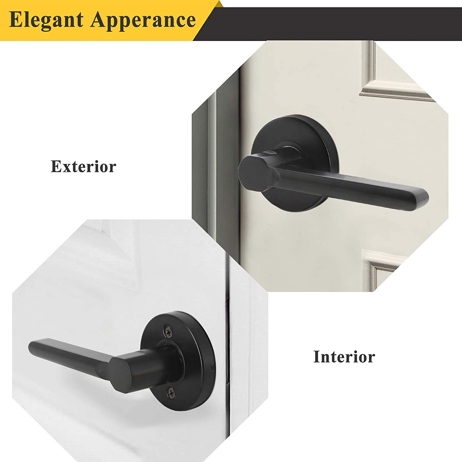 for Interior Closet or French Doors - Probrico Flat Black Half Dummy Door Lever Inactive Door Handle Round Non-Turning Single Side Only Pull Lever Set Exposed Screws, 1 Pack