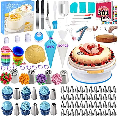 Mgee 301 Teiliges Tortenplatte Drehbar Set mit 58 Spritztüllen, 100+3 Spritzbeutel, 100 Kuchenbecher, Backzubehör für Kuchen Torten Dekoration (C-301pcs)