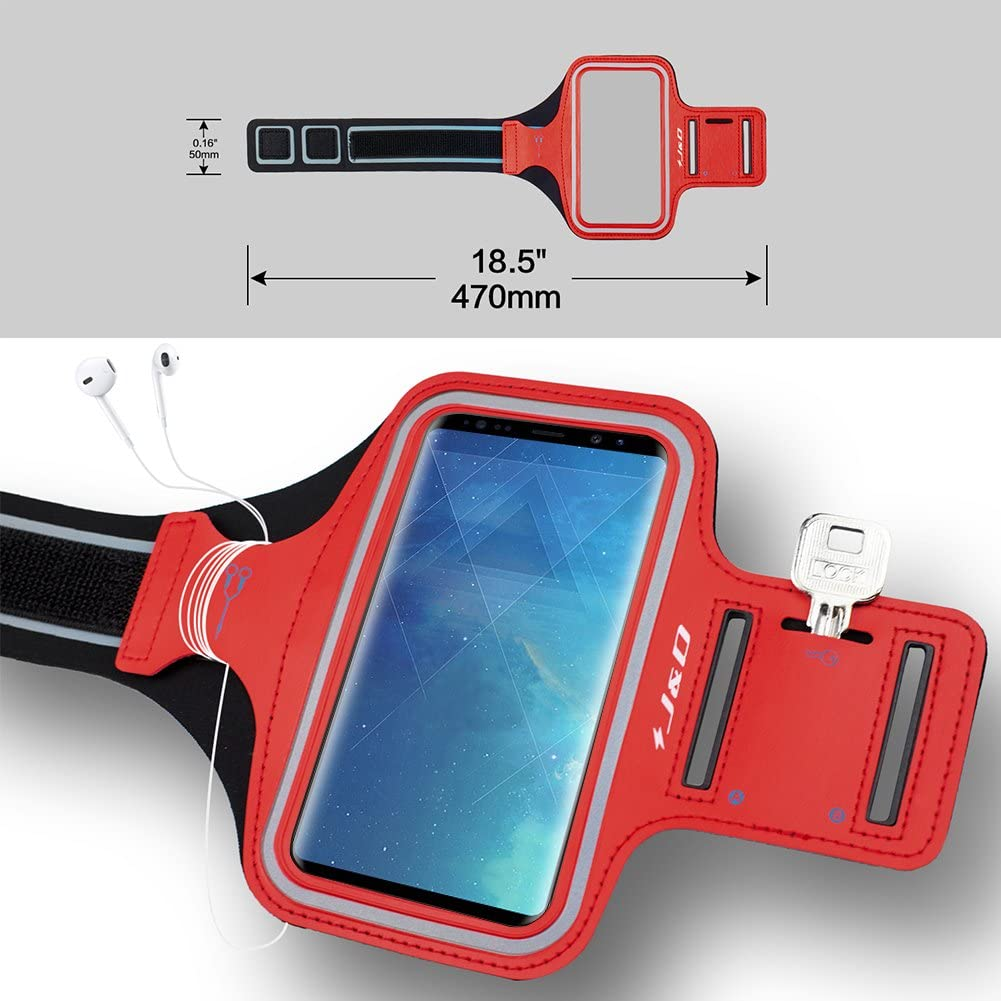 Sports Armband with Key Holder Slot for Galaxy S9 Plus Running Armband J/&D Armband Compatible for Samsung Galaxy S9 Plus//Galaxy A7 2018 Armband Perfect Earphone Connection while Workout Red