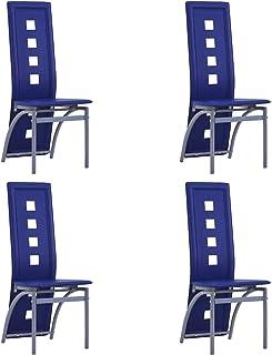pedkit Sillas de Comedor Sillas Cocina Sillas Salon 4 Unidades Cuero sintético Azul
