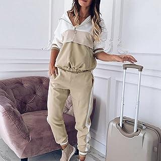 QXXKJDS Women S Sportswear Patchwork Tracksuit Girl Casual Outfit Long Sleeve Pockets Hoodies Sweatshirt+Sweatpant Women R...