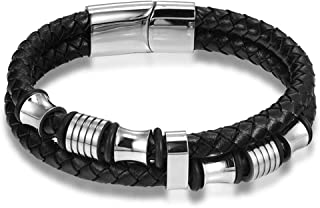 2105 Fashion Titanium Steel Leather Cool Black Men Bracelet as Gift for Male b5 PH911