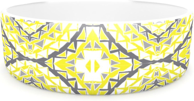 Kess InHouse Miranda MOL Yellow Tessellation Pet Bowl, 7Inch