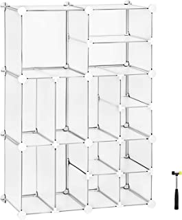 SONGMICS Cube Storage, Plastic Closet Organizer Unit, Space Saving Shelving Unit, Large and Small Style Design for Closet, Living Room, Clothes, Toys, 24.8 L x 12.2 W x 36.6 H Inches White ULPC601W