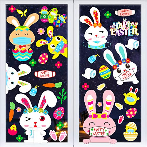 208 PCS Easter Bunny Window Clings Decorations Quarantine Windows Stickers Decor for Kids Egg Rabbit Glass Decals Home Party Supplies