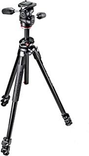 Manfrotto 290 MK290DUA3-3W Accurate Dual Aluminum 3-Section Tripod Kit with 804 3-Way Head, Black