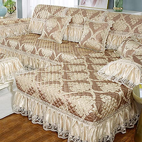 KENEL Home Funda de Sofa, Funda de sofá seccional para sofá, Funda de sillón Funda de sofá en Forma de l,Cojín de sofá de Estilo Europeo para Todas Las Estaciones.-80x180 + 17cm Falda_marrón-Vendido