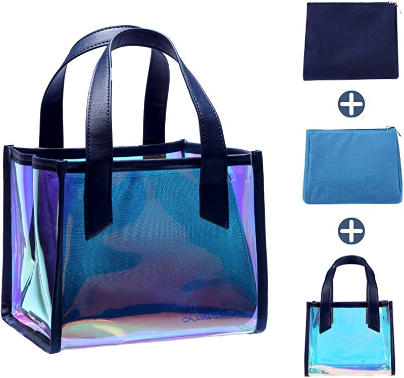 Holographic Purse Jelly Bag Clear Makeup Bag Multifunctional Handbag Lunch Bag For Girls Women Insulated Lunch Tote Reusable Waterproof 3 IN 1 Blue Limerence Jello