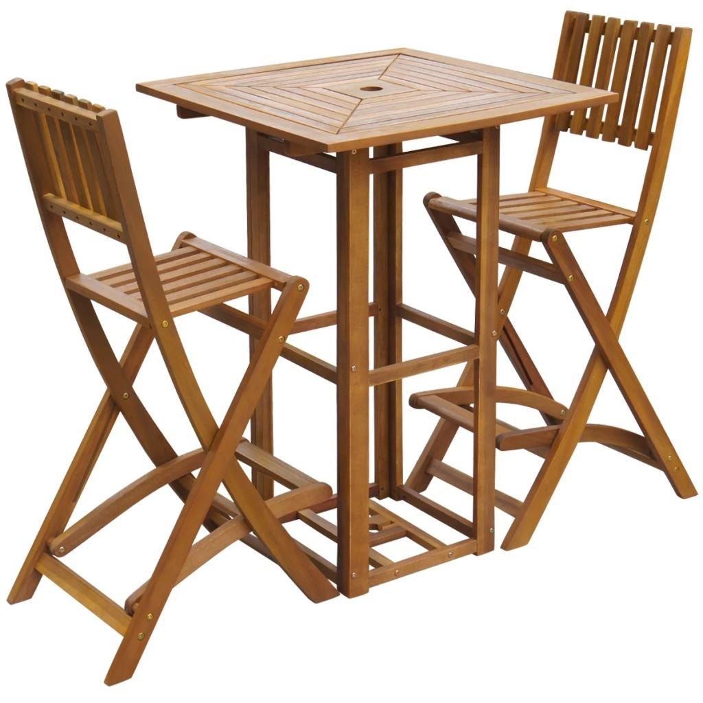Lingjiushopping Mesa Alta y taburetes de Jardin 3 Piezas de Madera de Acacia Dimensiones de Las sillas: 48 x 58 x 118 cm (Anchura x Profundidad x Altura): Amazon.es: Jardín