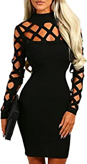AMiERY Women's Hollow Out Dress Bandage Clubwear Long Sleeve Bodycon Dresses
