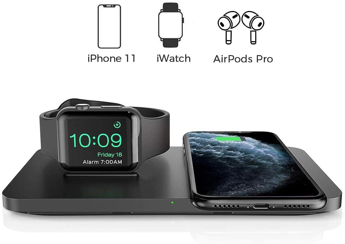 宝滴下牛【2020年最新版】Seneo ワイヤレス充電器 2in1 Apple Watch対応 ワイヤレス チャージャー iPhone 11 / 11 Pro / 11 Pro Max/SE(第2世代) / XS/XS Max/XR/X / 8 / 8...