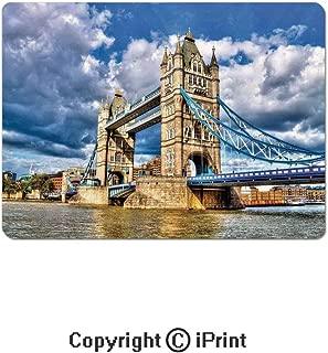 Anti-Slip Mouse Pad,Historical Tower Bridge on River London UK British Day Time International Heritage Decorative Mouse Mat,Non-Slip Rubber Base Mousepad,7.9x9.5 inch,Multicolor