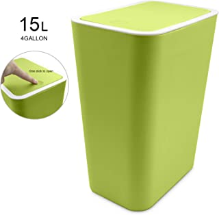 Topgalaxy.Z Small Trash Bin Kitchen Trash Can with Lid,15 Liter/4 Gallon Plastic Garbage Can, Waste Can Bin (Green)