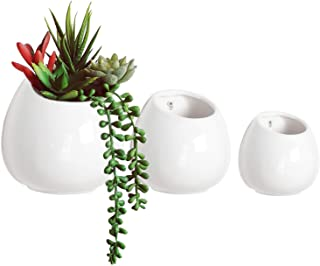 Nattol Wall Mounted White Ceramic Flower Planter, Hanging Succulent Planter in 3 Sizes, Small to Medium, Set of 3