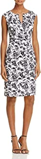 Adrianna Papell Women's Black and White Printed Floral Stretch Cotton Day Dress