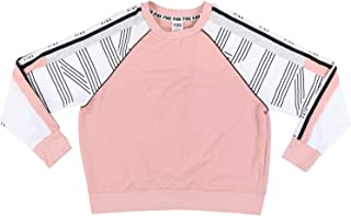 Victoria's Secret Pink Sweatshirt Crew Neck Pullover with Colorblock Sleeves