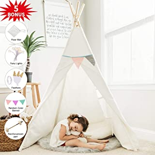 HAN-MM Kids Teepee Tent for Kids with Ferry Lights+Floor Mat+Feathers+Random Color Banner+Carry Case, Large Toys for Kids, Raw White Color