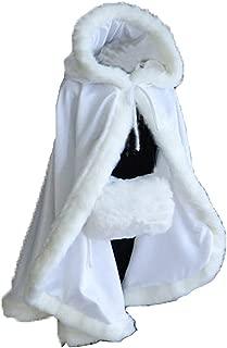 Aiyi Women's Winter Cloak Hooded Faux Fur Edge Short Bridal Christmas Wraps