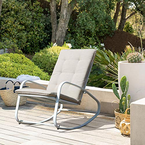 OC Orange-Casual Patio Furniture Rocking Chairs with Removable Paded Beige Cushion, Outdoor Metal Reclining Rocker, White