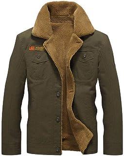 Karl Aiken Men's Casual Cotton Military Jacket Add Velvet and Bigh Size for Winter