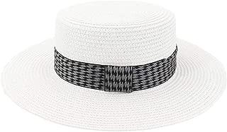 Outdoor Seaside Sunscreen Tartan Plaid Fabric Decoration Big Sunhat Women's Straw Beach Sun Hat Wide Brim Flat-top Hat (Color : White, Size : 56-58CM)