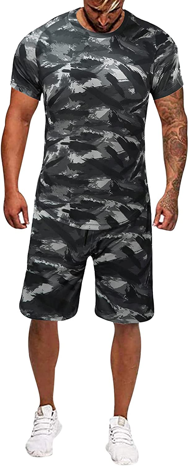 Handsome Sweatsuit,Men's Camouflage Tight Quick-drying Fitness Short Sleeve Shorts Set