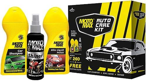 PIDILITE Motomax Auto Care Kit for Bikes & Cars - Bike & Car Shampoo, Liquid Polish, Shiner (100ml each) with Free Bu...