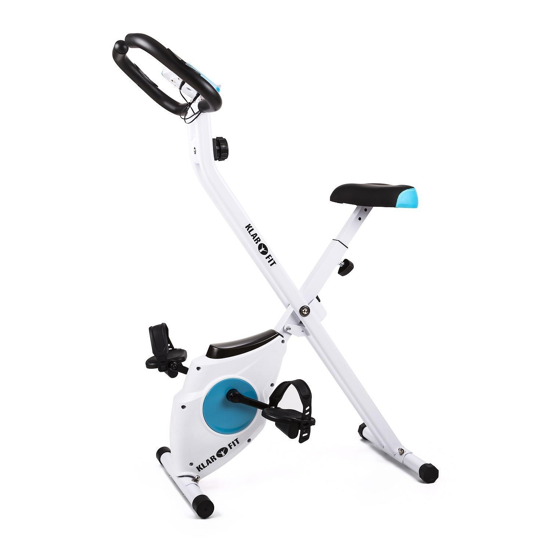 Klarfit Azura Bicicleta Fija Bicicleta Estática Computadora de Entrenamiento Medidor de Pulso 8 Niveles de Resistencia Peso a Rotar de 3Kg Asiento Ergonómico Max. 100Kg Blanco-Azul: Amazon.es: Deportes y aire libre