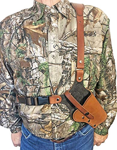 """WESTERN IMAGES LEATHERWORKS, INC. Sportsman's Chest Rig Holster for Ruger Revolvers Brown Leather (LCR/LCRX 3"""" Barrel, Right Handed)"""
