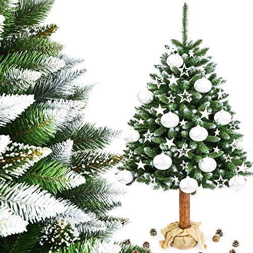 MW.Shop.24 Weihnachtsbaum Diamantkristalle (180cm) Weiss im Topf Jute Christbaum Kiefer künstlich FICHTE NATURSTAMM Baumstamm aus Echtem Holz Tannenbaum