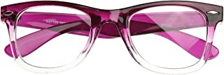 Two Tone Fade Classic Clear Lens Horn Rimmed Glasses (Purple Fade)