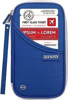 DEFWAY Famliy Passport Holder Waterproof RFID Blocking Cellphone Credit Card Pouch Travel Document Wallet with Wristlet for Men Women(Blue)