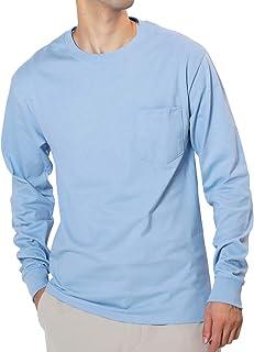 [ヘインズ] ポケット付き ロングスリーブ Tシャツ メンズ 長袖 ロンT コットン100%