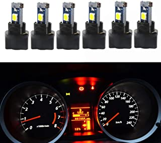 WLJH 6Pack White Dash Lights PC74 Twist Locket Socket Wedge T5 LED Bulb 37 74 2721 3030SMD Dashboard Instrument Cluster Bulbs,Plug and Play
