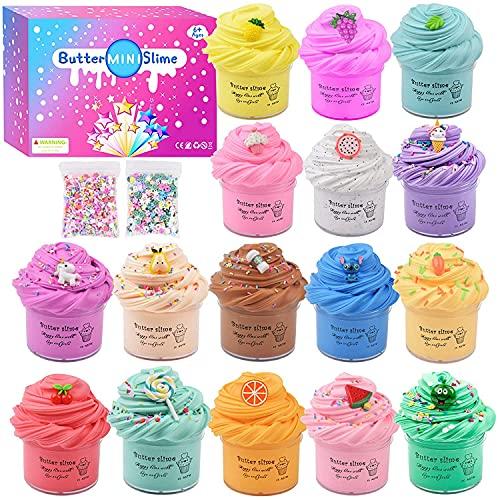 Funmo Fluffy Slime Kit, Putty Butter Slime, 16 Colores Slime Esponjoso para aliviar el estrés, DIY Slime de Barro Suave y Limo de Mantequilla Suave no pegajosa Juguetes para niños niñas