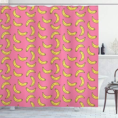 ABAKUHAUS Vegetarier Duschvorhang, Cartoon Stil Bananen, mit 12 Ringe Set Wasserdicht Stielvoll Modern Farbfest & Schimmel Resistent, 175x180 cm, Gelb & Rosa