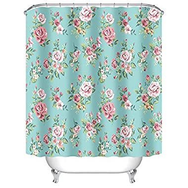 Uphome Pink Rose Flower with Leaves Customized Bathroom Shower Curtain - Aqua Waterproof and Mildewproof Polyester Fabric Bath Curtain Design (72  W x 72  H)