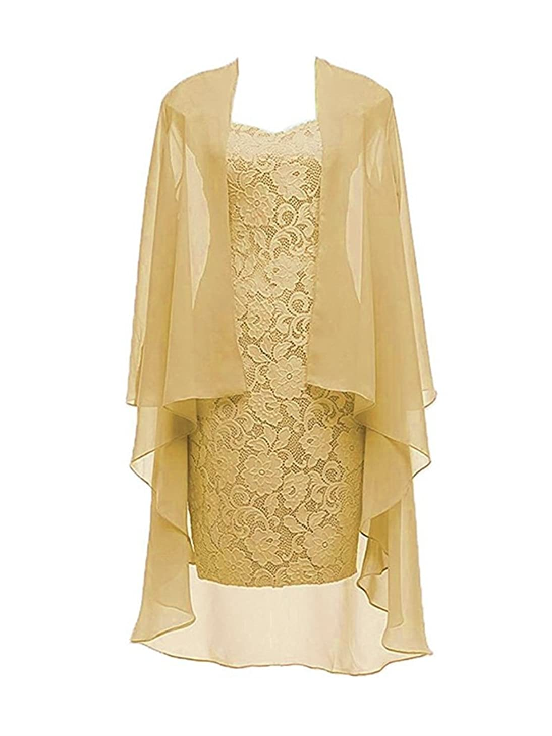 Dannifore 2 Pieces Lace Mother of The Bride Dress with Jacket Chiffon Formal Evening Dresses