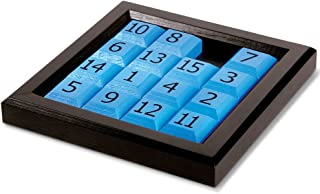 Launch Innovative Products James 15 Number Sliding Wooden Puzzle Classic Wood Brain Teaser IQ Game