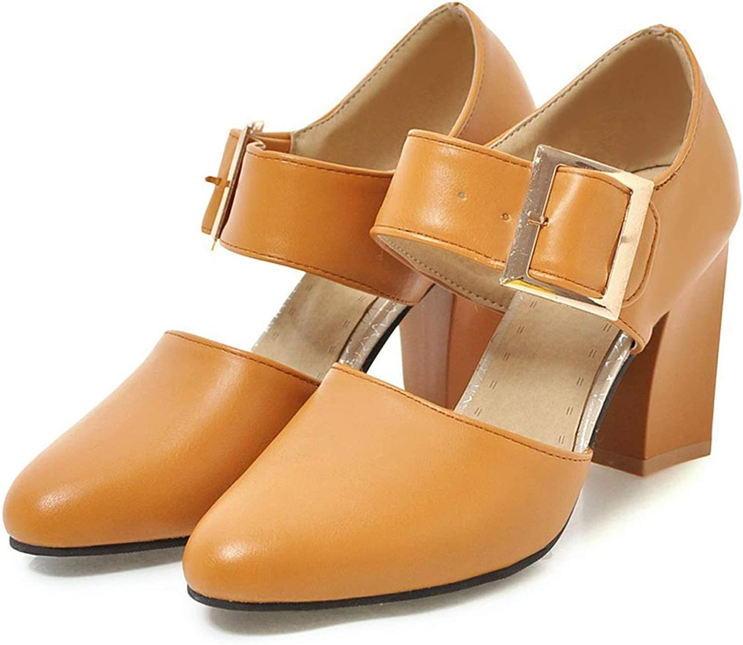 FINDYOU Autumn Pumps High Heel shoes for Women Thick Heel Buckle Office Ladies shoes Round Toe Shallow shoes