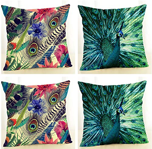 SCVBLJS Peacock Linen Cushion Covers Set Of 4 Pillowcase Sofa Car Couch Living Room Bed Decor Pillow Covers 45 X 45 Cm