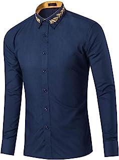 Camisa de Manga Larga para Hombre, Solapa Fina Bordada, Color Liso, Ajuste Regular, Botones, Camisa de Tendencia Informal ...