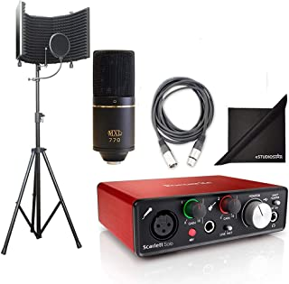 AxcessAbles SF-101Kit Studio Recording, w/MXL 770, Podcast Kit, Focusrite Scarlett Solo interface, Free Protools First and Ableton Live Software, AxcessAbles Cables and eStudioStar Polishing Cloth
