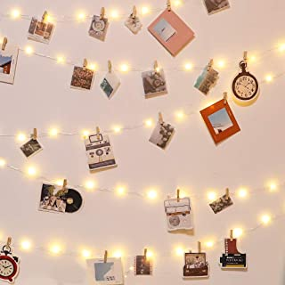 Photo Clip String Lights 50 LED String Lights with 50 Wooden Clips and 20 Non-Trace Nail for Hanging Card, Polaroid, Picture for Dorm Bedroom Wall Wedding Birthday Party Decoration