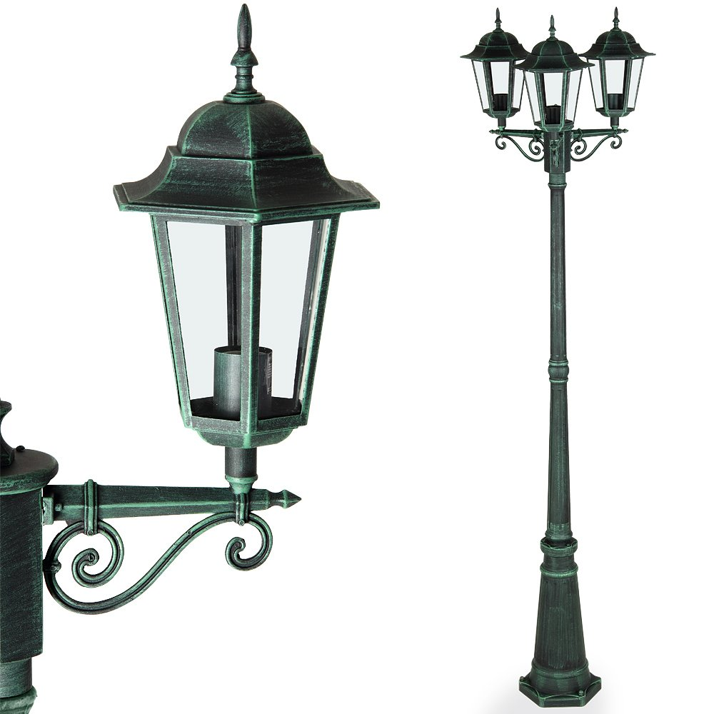 Deuba Lámpara de pie con 3 faroles de aluminio verdes luz de ...