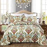 YuzhijieSpring y otoño Textiles para el hogar Nuevo edredón Acolchado Lavado Ropa de Cama impresión Conjunto de Tres Piezas de algodón Acolchado