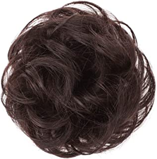 100% Human Hair Bun Extensions Messy Hair Scrunchies Pieces Wedding Hair Pieces for Women Kids Hair Updo Donut Chignons(Natural Color)