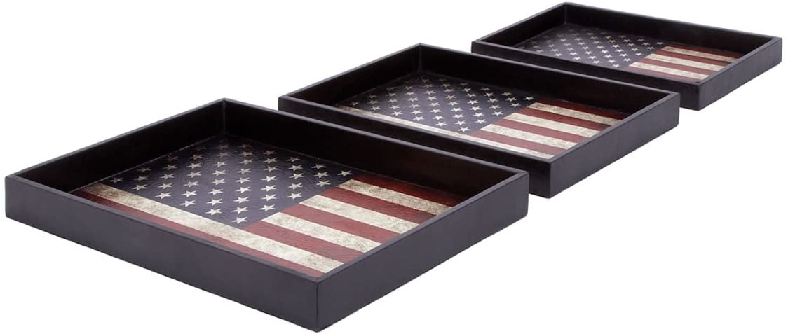Deco 79 Wood Sacramento Mall Leather Trays NEW before selling 21 19 Set Navy 17-Inch by Blue