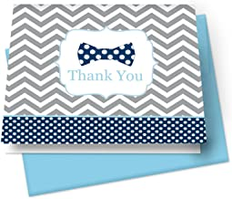 Bow Tie Thank You Cards with Blue Envelopes (Set of 20) Boys Baby Shower Stationery Set